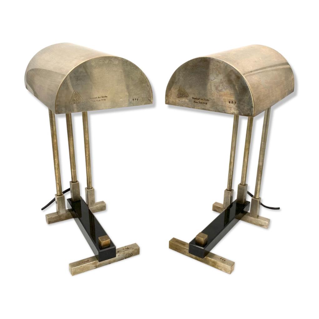 Diamant Art Studio Pair of Bauhaus cubist shaped Lamps. Marked 'New York 1938' & Numbered