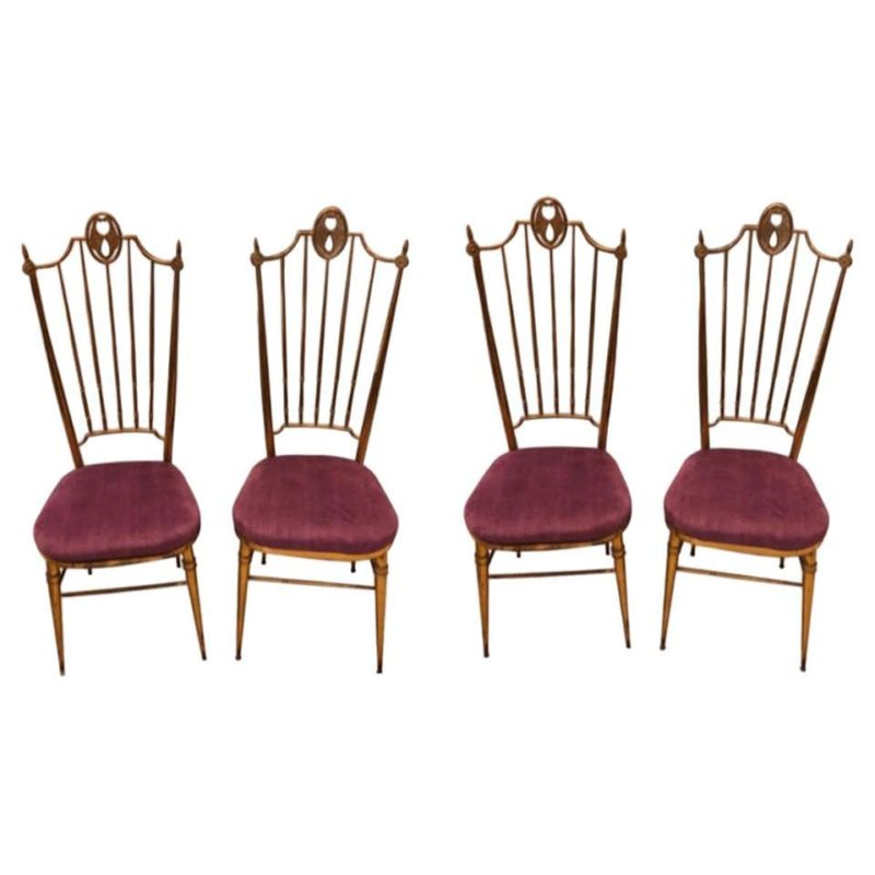 Set of Four Brass and Purple Velvet Chiavari Chairs, Italy, circa 1960
