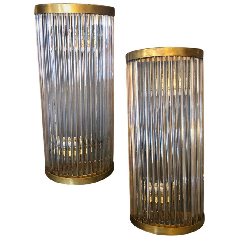 Set of Four Mid-Century Modern Brass and Glass Italian Wall Sconces, circa 1970