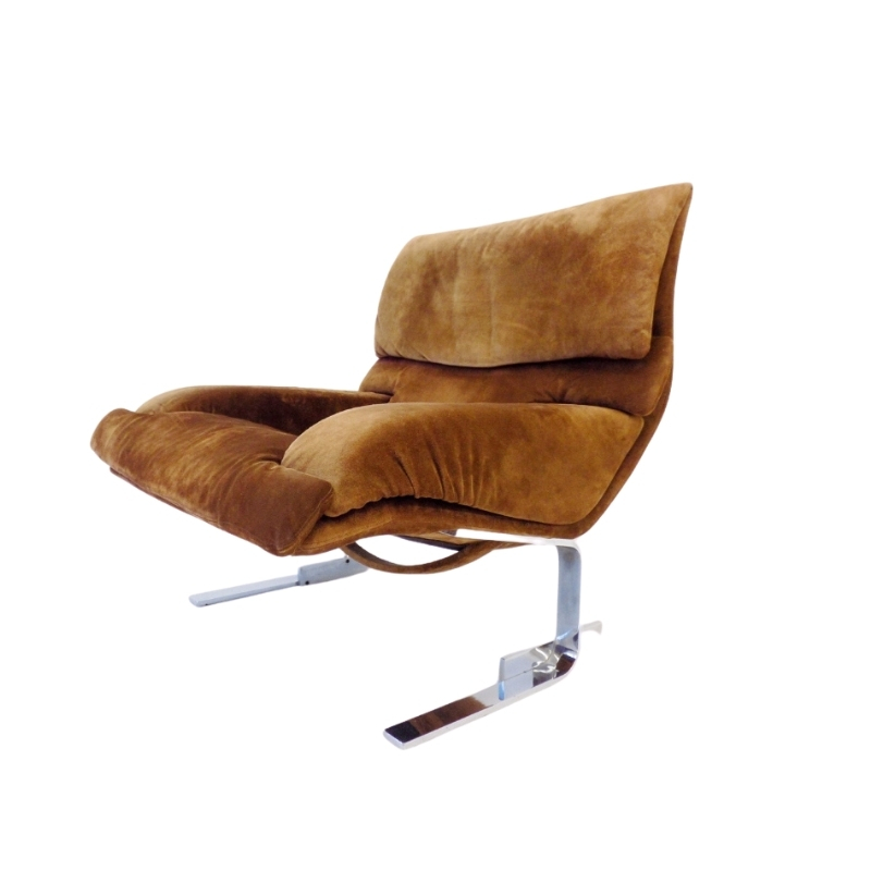 Saporiti Italia Onda suede lounge chair by Giovanni Offredi