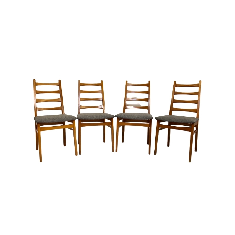 Set of 4 Scandinavian chairs year 50 restored fabric edition Lelievre.
