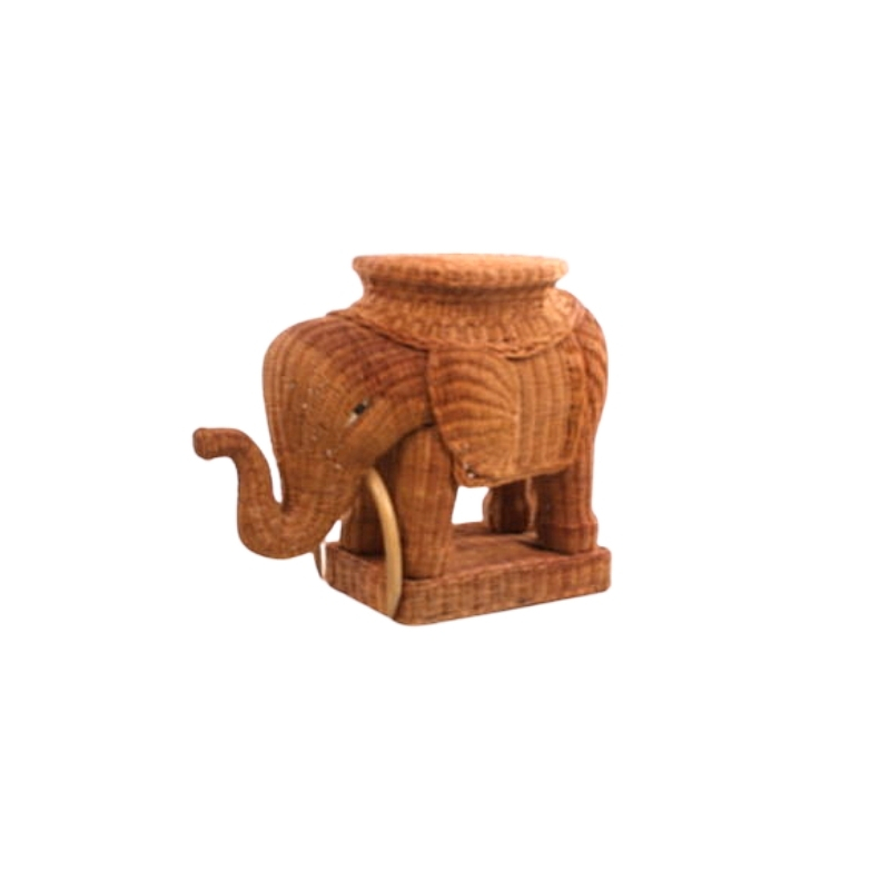 Rattan bamboo elephant side table brown (1960s)