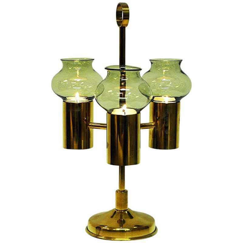 Norwegian Odel Brass Candleholder three arms with green glass shades 1960s