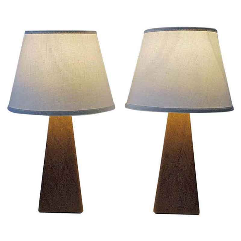 Pair of lovely Nordic brown leatherette Table lamps 1950s