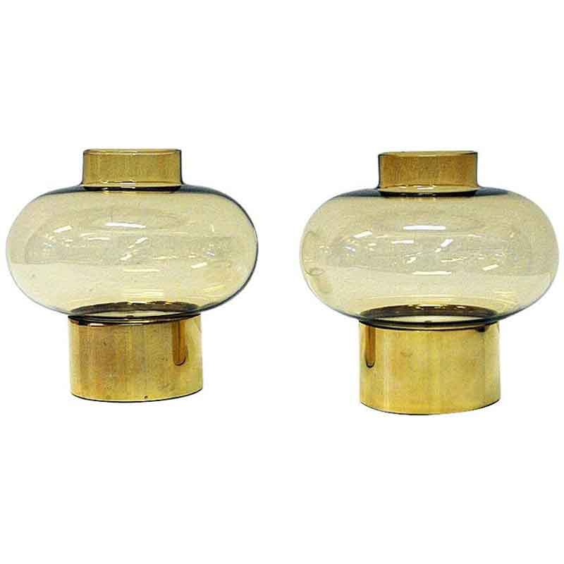 Norwegian vintage pair of Brass Candleholders by Colseth 1960s