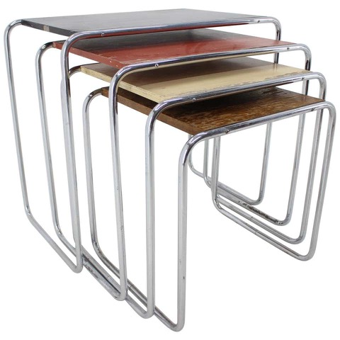 Extremely Rare Bauhaus Colored Nesting Tables B9, Marcel Breuer/ Thonet License