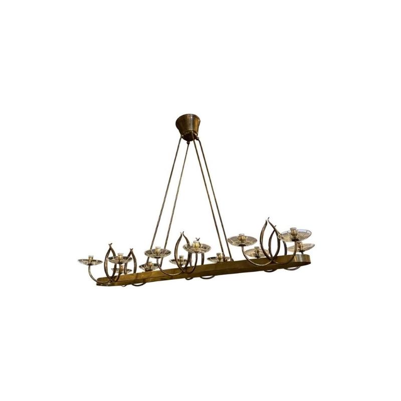 Pietro Chiesa Style Mid-Century Modern Brass and Glass Italian Chandelier