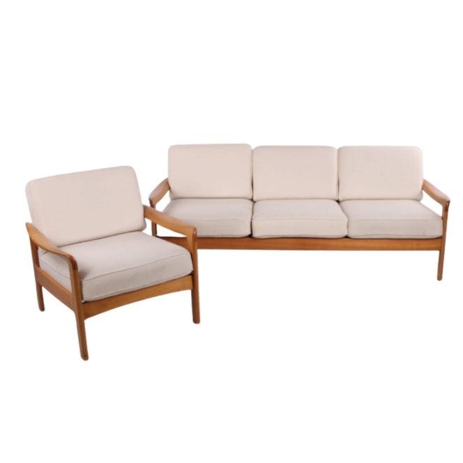 Scandinavian 3-seater sofa and armchair white Creme 1960
