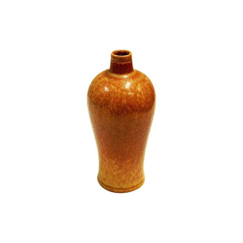 Vintage goldenbrown Ceramic Vase 1950s by Gunnar Nylund, Rörstrand-Sweden