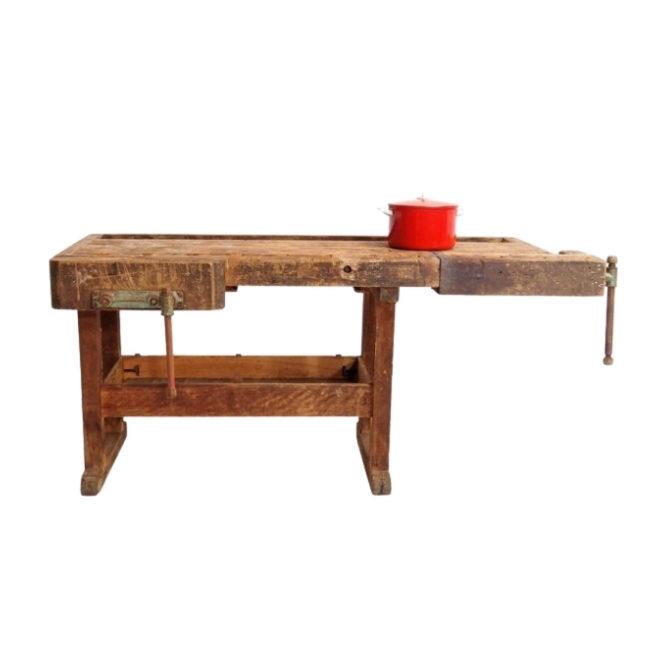 Antique workbench in solid oak wood