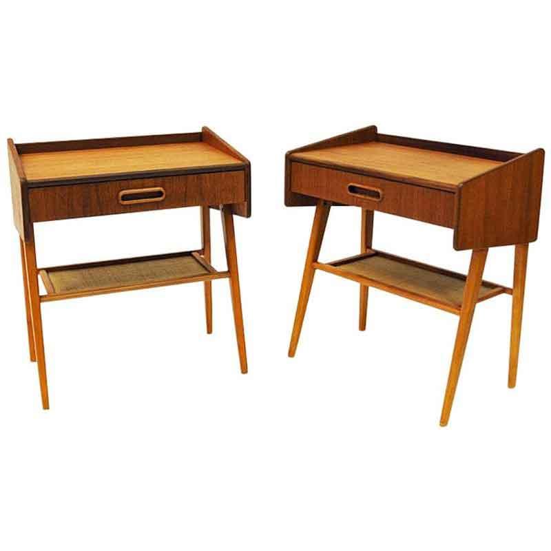 Teak pair of midcentury night or side tables -Sweden 1950s
