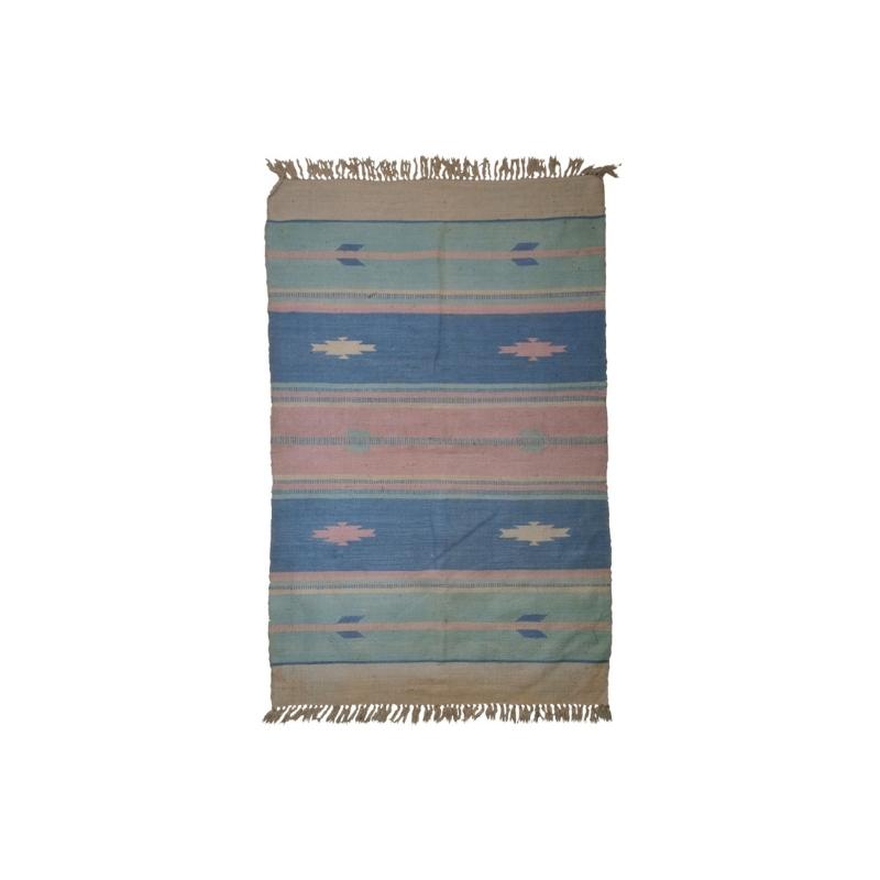Handmade vintage Indian Dhurri kilim 4′ x 6′ ( 122cm x 183cm ) 1960 – 1C70