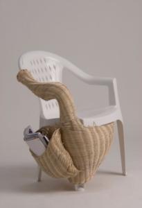 kintsugi plastic chair and rattan