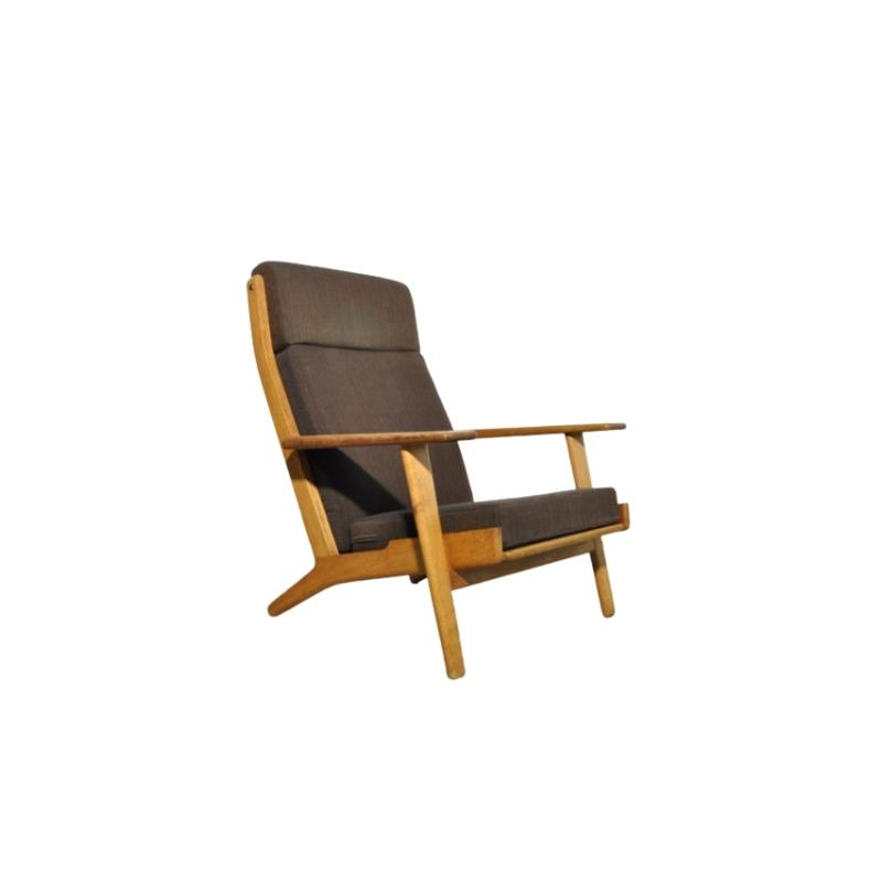 Vintage Highback oak lounge chair GE 290 by Hans J. Wegner for Getama, Denmark 1950s