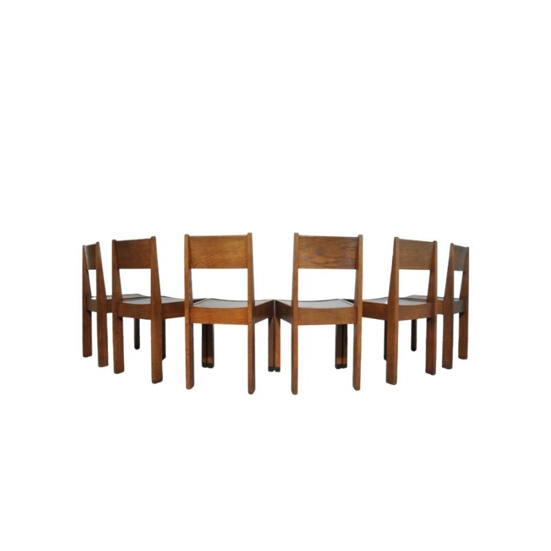 Set of 6 vintage Haagse School oak dining chairs, Netherlands Art Deco 1930s