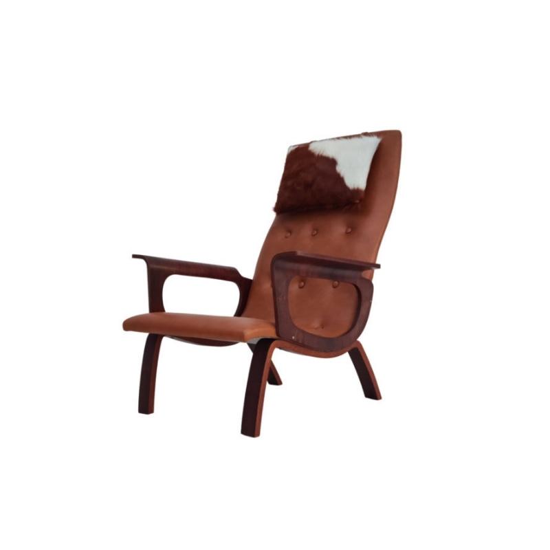 Danish armchair, cowhide, cognac leather, palisander, 70s