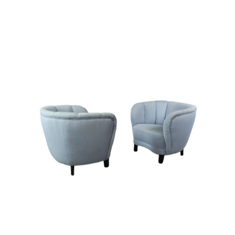 Danish Banana 1940s Pair Of Curved Lounge Or Club Chairs