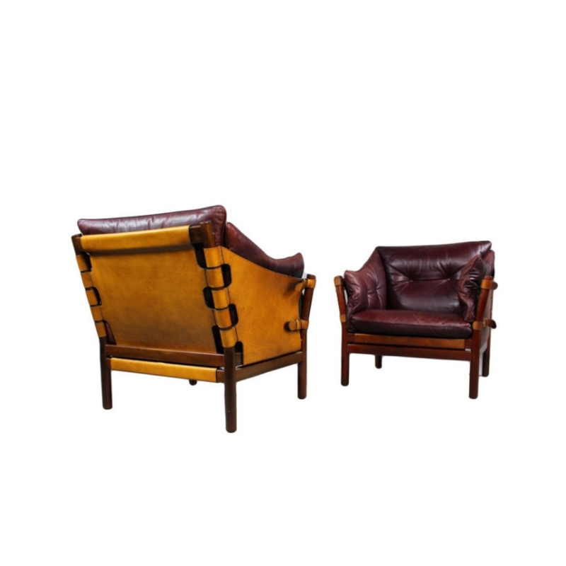 Pair Of Ilona Chairs In Leather By Arne Norell, Aneby Møbler 1960s