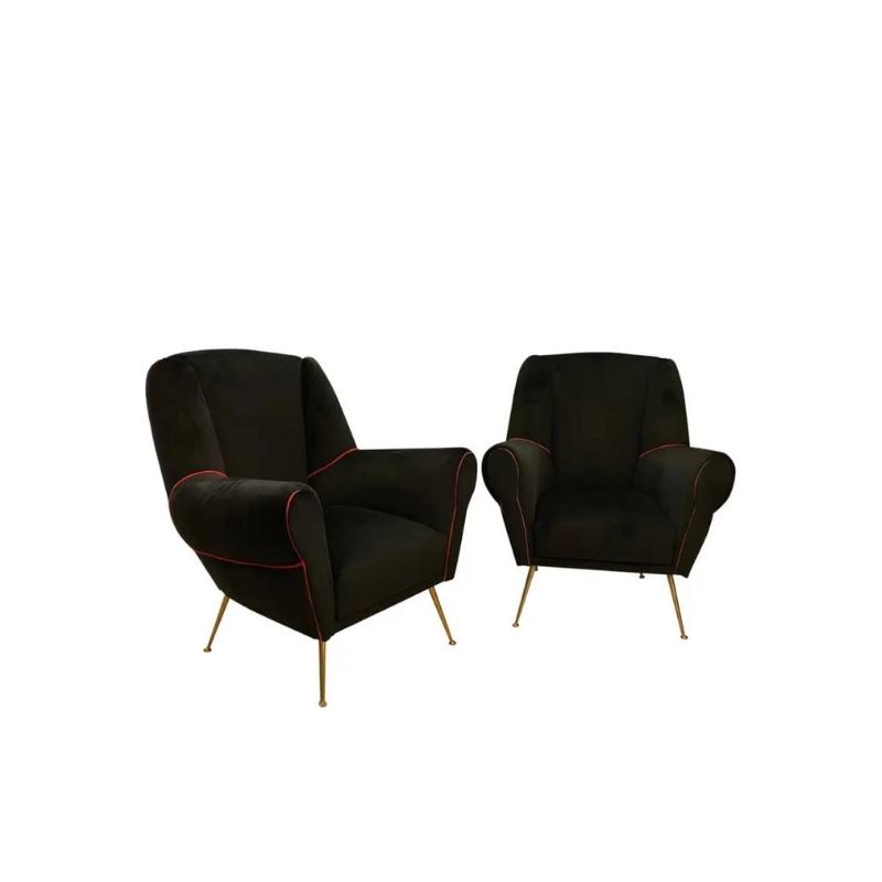Set of Two Mid-Century Modern Brass and Black Velvet Italian Armchairs, 1950s