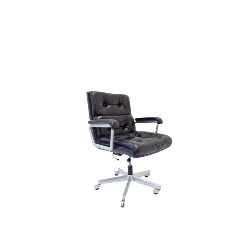 Girsberger black office leather armchair 70s