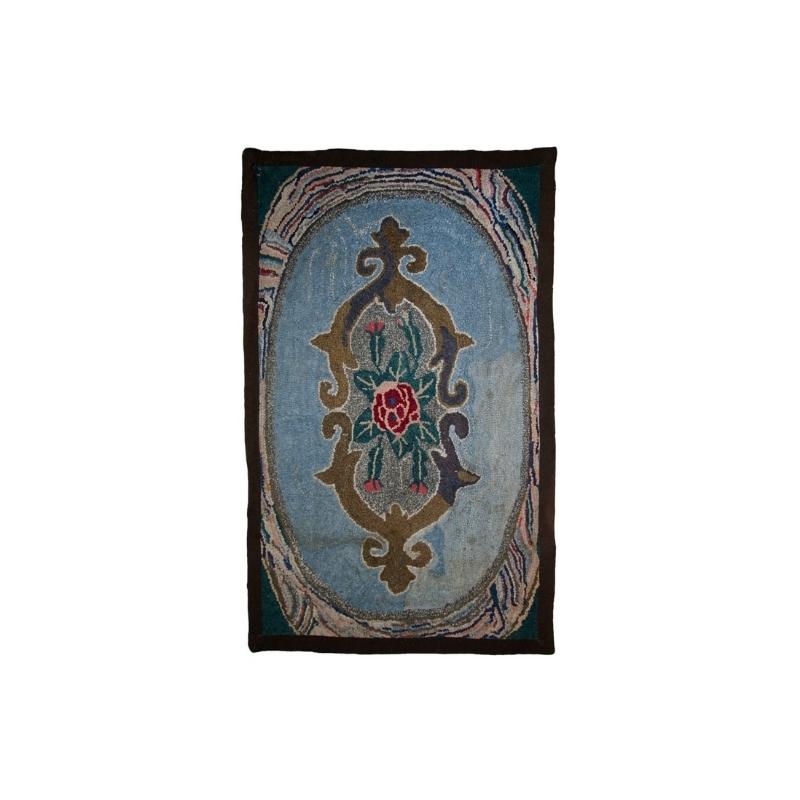 Handmade antique American hooked rug 2′ x 3′ ( 62cm x 92cm ) 1920s – 1C15