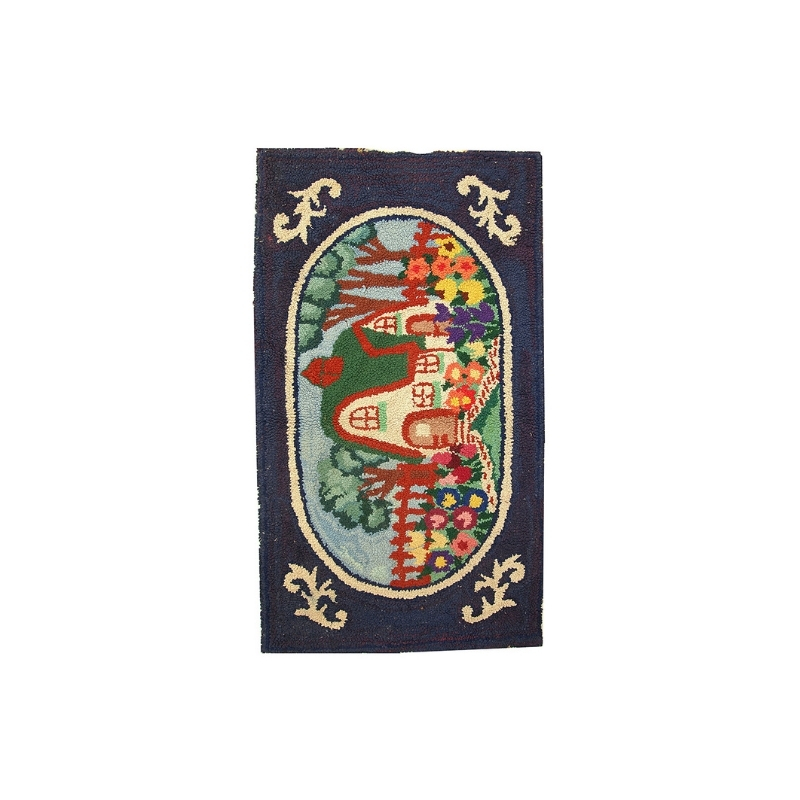 Hand made antique American hooked rug 2.5′ x 4.3′ ( 76cm x 131cm ) 1920 – 1C24