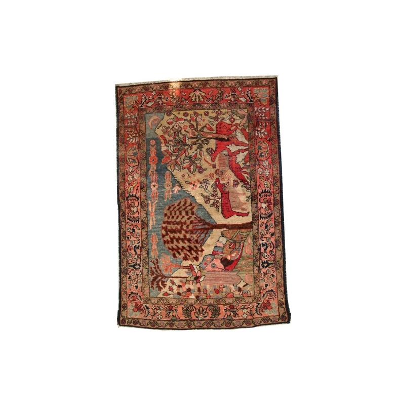 Handmade antique Persian Malayer rug 3.9′ x 6′ ( 120cm x 184cm ) 1920 – 1C248