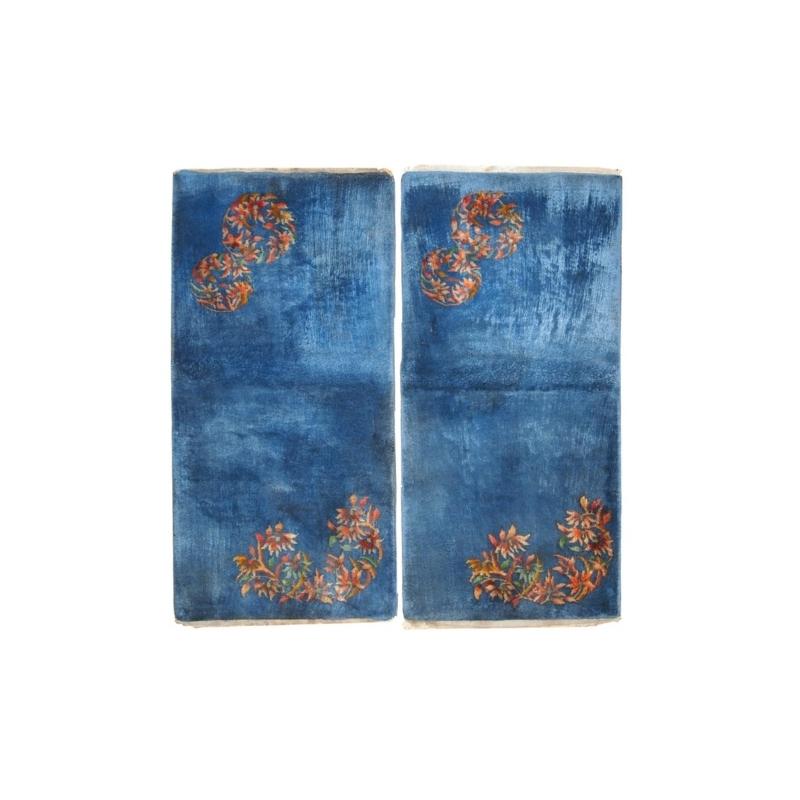 Handmade antique Art Deco Chinese pair of rugs 2′ x 3.10′ ( 61cm x 119cm ) 1920 – 1C128