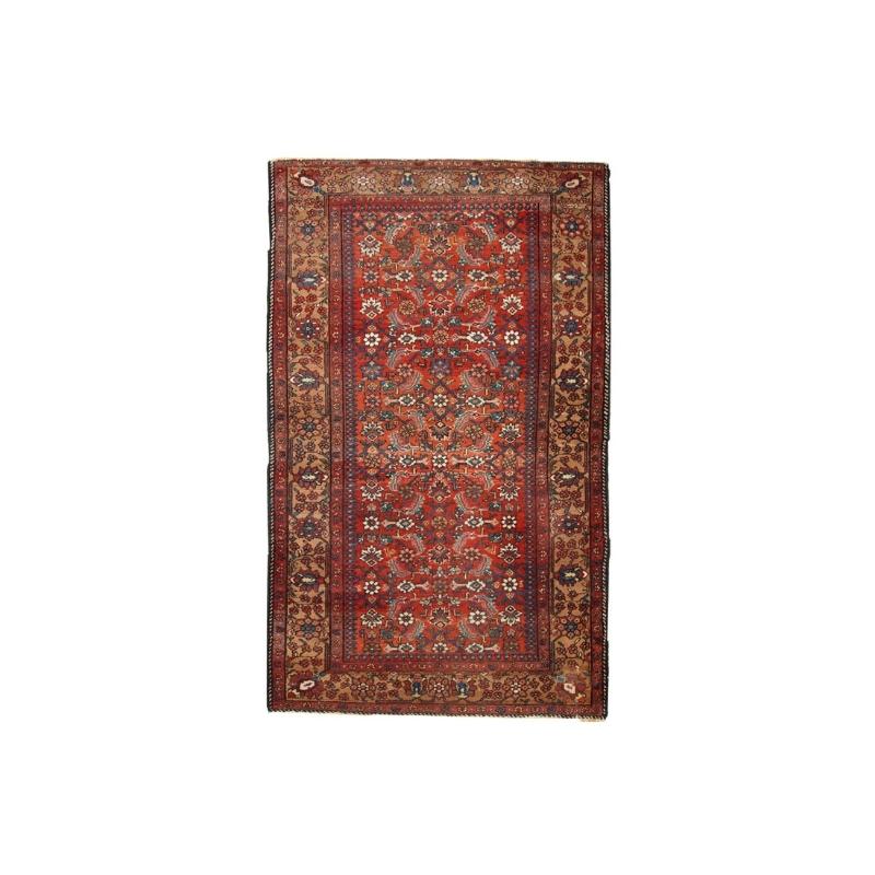 Handmade antique Persian Hamadan rug 4.1′ x 6.5′ ( 126cm x 200cm ) 1920 – 1C276