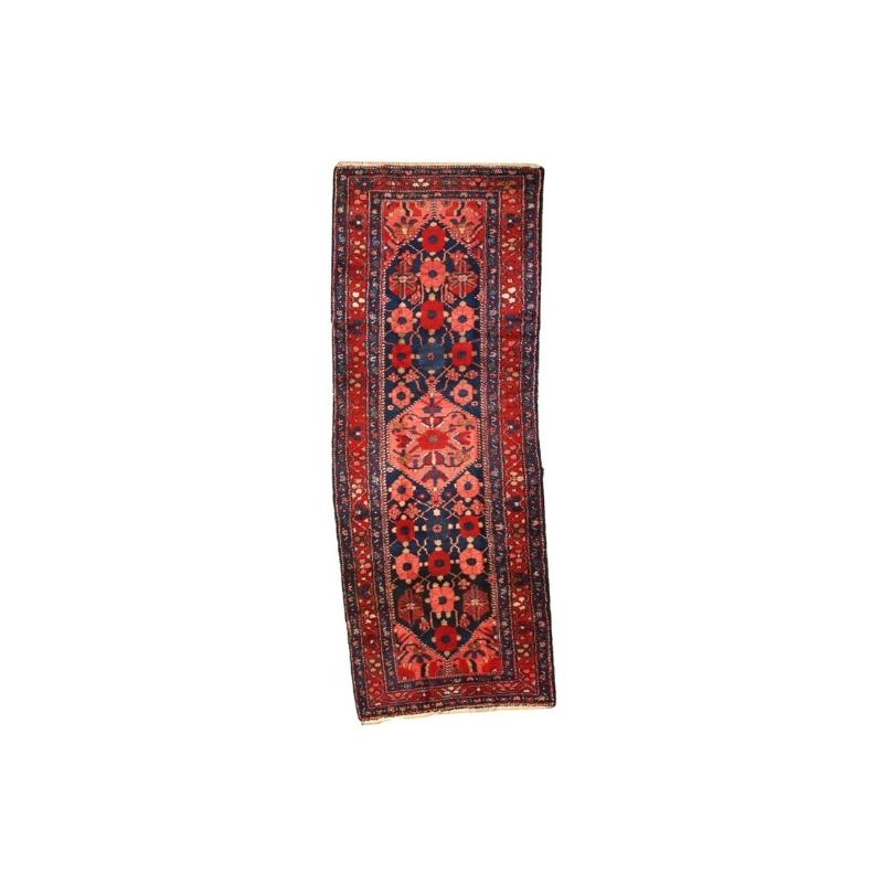 Handmade antique Persian Hamadan runner 3.7′ x 9.8′ ( 115cm x 300cm ) 1920 – 1C295