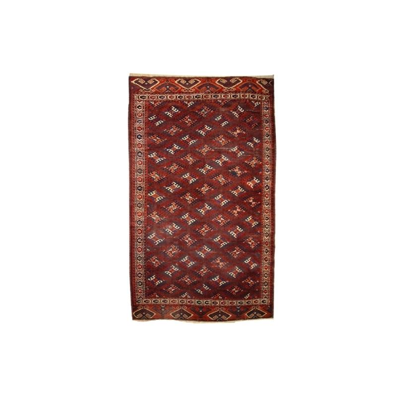 Handmade antique Turkmen Yomud rug 6.4′ x 10.9′ ( 195cm x 333cm ) 1880s – 1C310