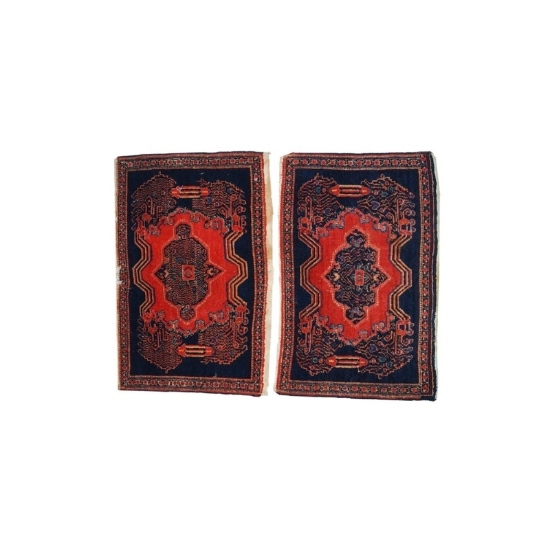 Handmade antique Persian pair of Senneh rugs 1.7′ x 2.6′ ( 52cm x 80cm ) 1920s – 1C359