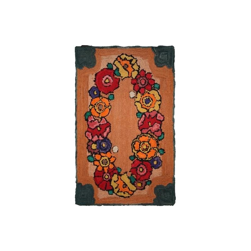 Handmade vintage American hooked rug 2′ x 3′ ( 61cm x 91cm ) 1940 – 1C21