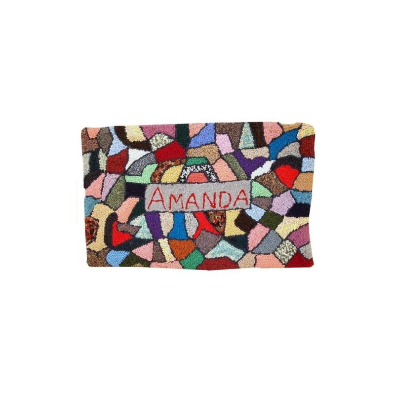 Handmade vintage American hooked rug 1.10′ x 3′ ( 59cm x 91cm ) 1980 – 1C63