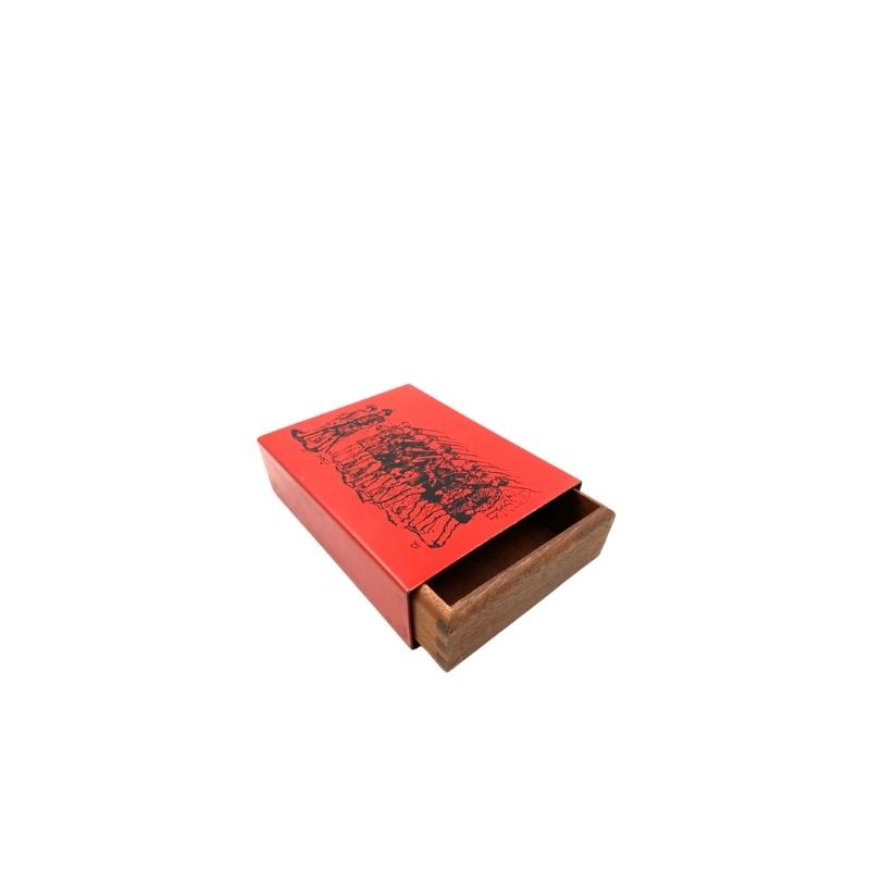 Piero Fornasetti style, Red Mahogany Cigars Box, Italy ca. 1950