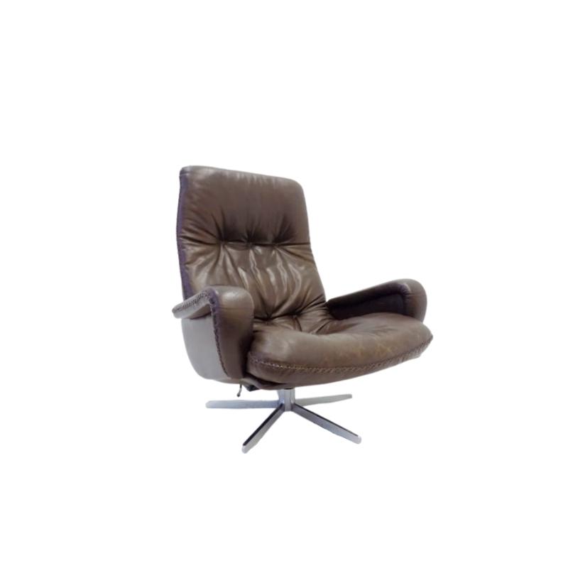 De Sede S 231 dark brown leather armchair