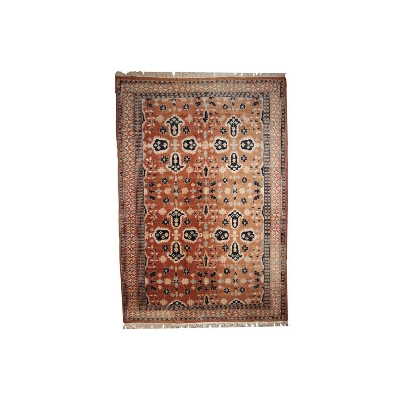 Handmade vintage Turkish rug 4.1′ x 6.1′ ( 126cm x 187cm ) 1970s – 1C241