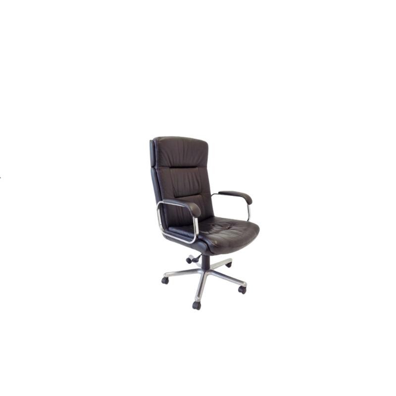 German office armchair black leather 70s