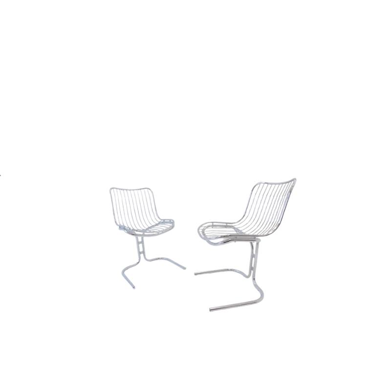 Rima set of 2 Radiofreccia chrome chairs by Gastone Rinaldi