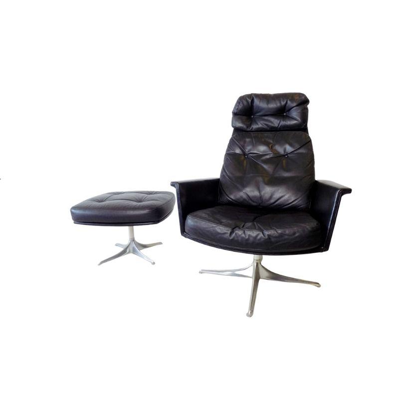 COR Sedia black leather armchair with ottoman by Horst Brüning