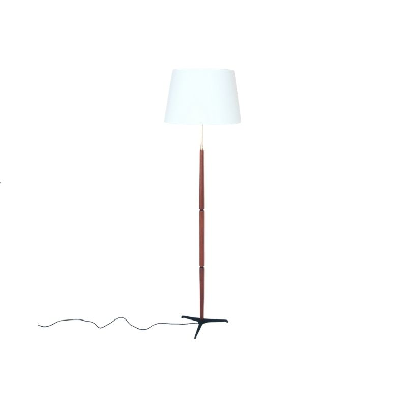 Danish 1960s floor lamp with iron tripod base