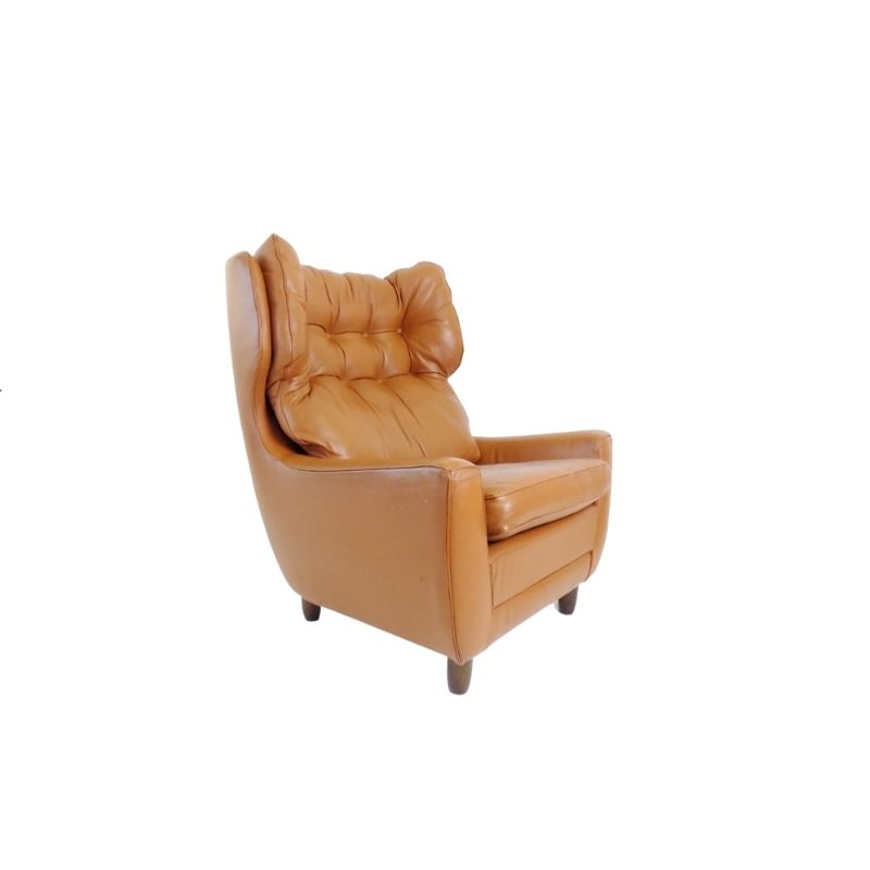 Carl Straub cognac-colored leather armchair from the 1960s