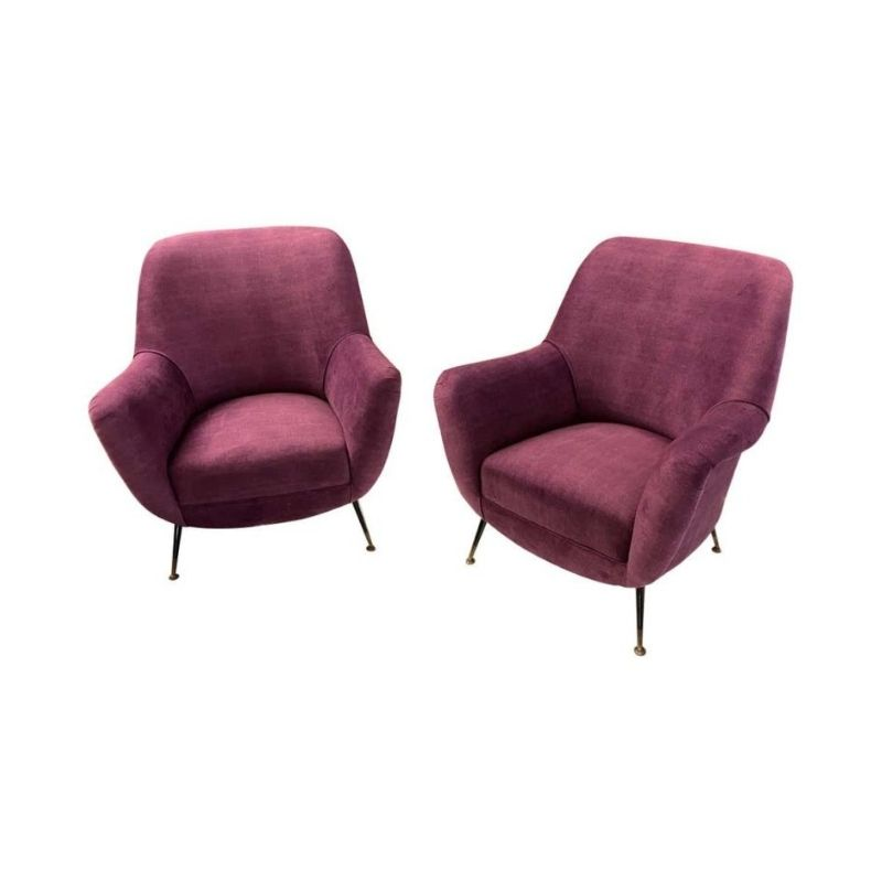 Pair of Mid-Century Modern Purple Velvet and Brass Italian Armchairs, circa 1960