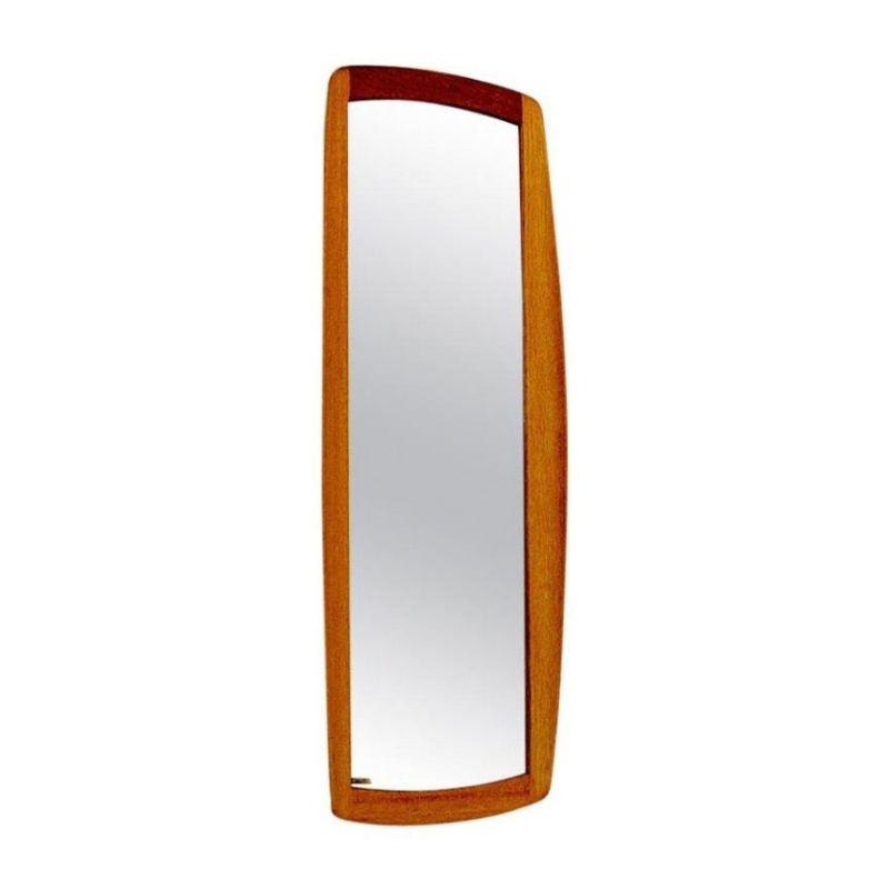 Oval and curved oak mirror Luxus by Uno & Östen Kristiansson 1960`s Sweden