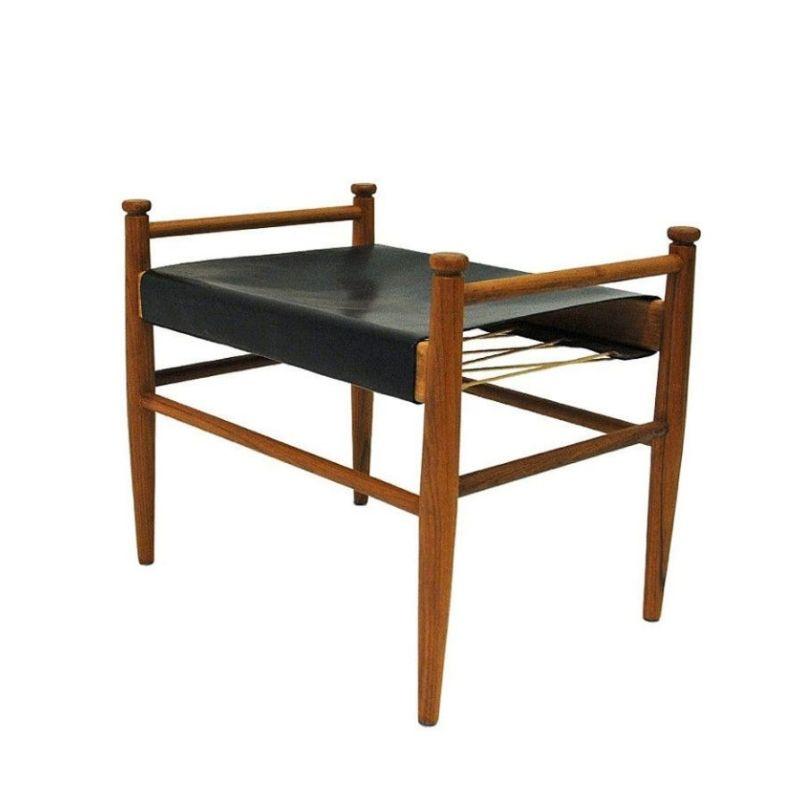 Black leather and teak footstool by Gillis Lundgren for Ikea 1960s Sweden