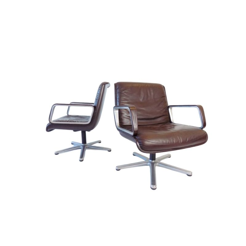Wilkhahn Delta 2000 set of 2 leather lounge chairs by Delta Design