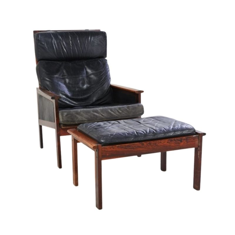 Danish Capella Lounge Chair with Ottoman by Illum Wikkelsø for Niels Eilersen, 1950s