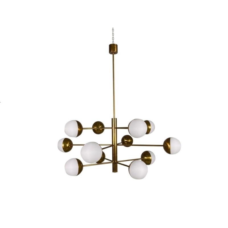 Stilnovo Mid-Century Brass Globe Chandelier