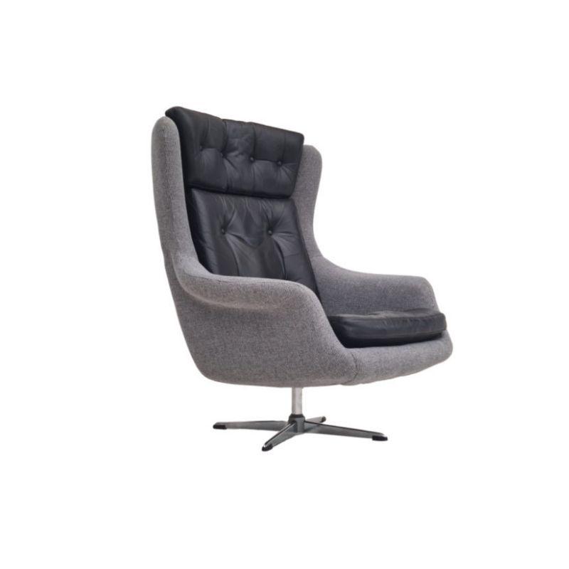 Restored Danish high-backed armchair, H.W.Klein for Bramin, 70s