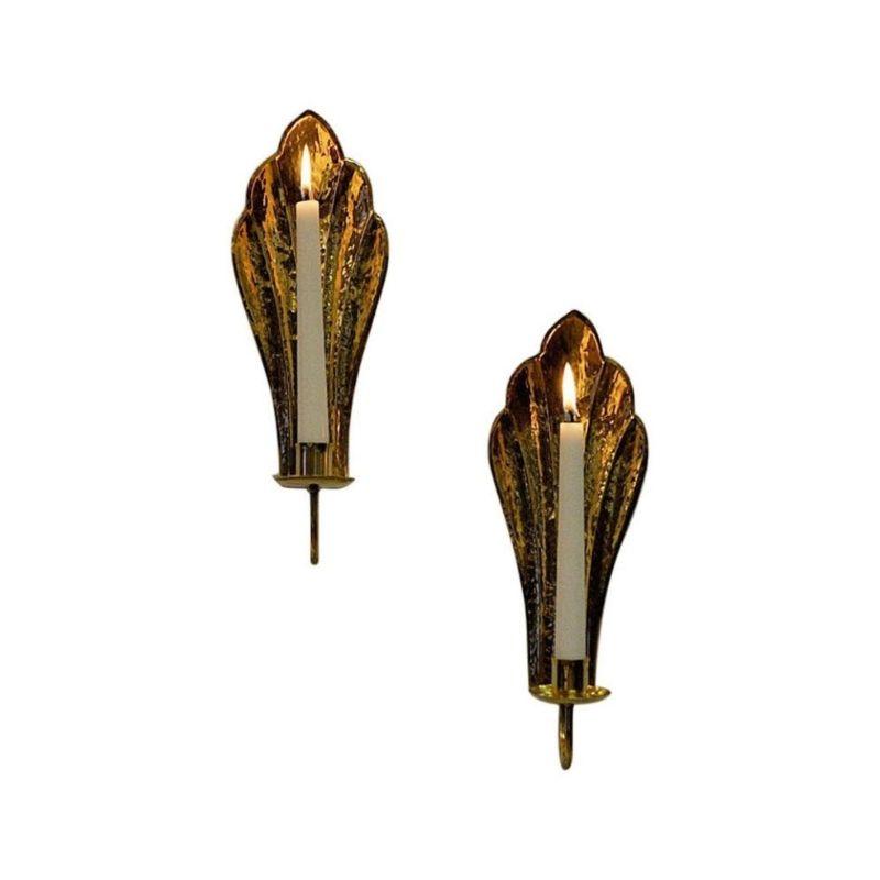 Vintage Brass wall candleholder pair by Lars Holmström 1960s, Sweden